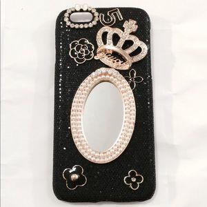 iPhone 6 Black Glitter Pearls Mirror Bling Case
